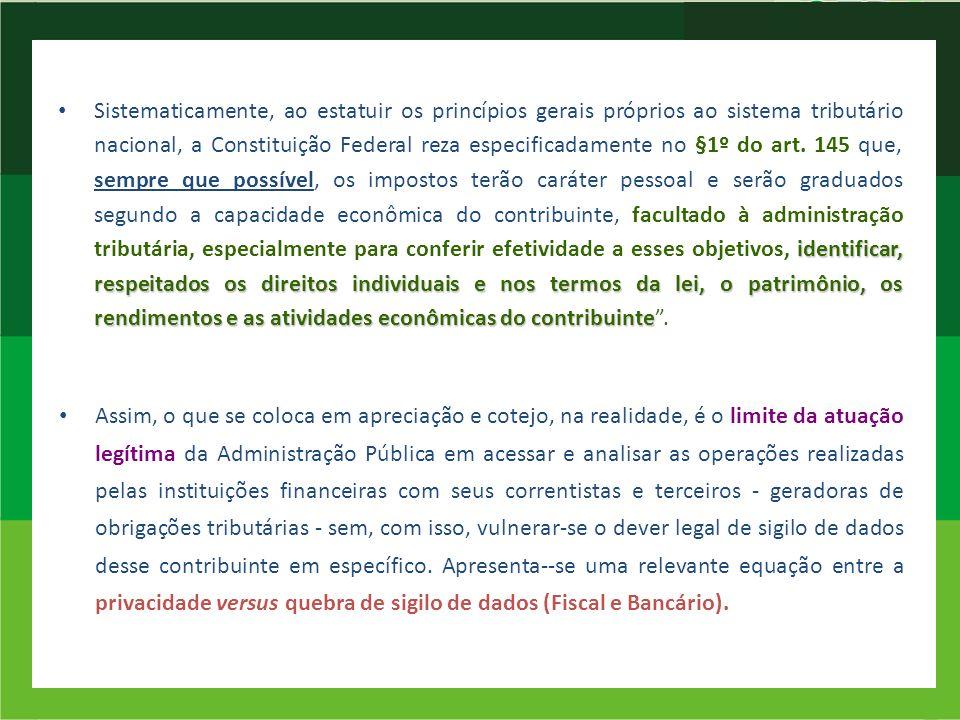 identificar, respeitados os direitos individuais e nos termos da lei, o patrimônio, os rendimentos e as atividades econômicas do contribuinte Sistemat