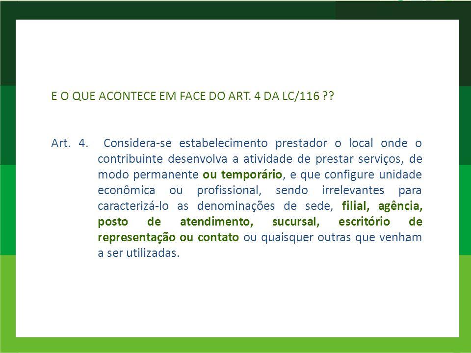 E O QUE ACONTECE EM FACE DO ART. 4 DA LC/116 ?? Art. 4. Considera-se estabelecimento prestador o local onde o contribuinte desenvolva a atividade de p