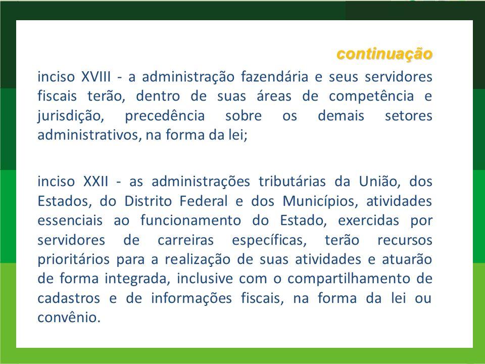 continuação inciso XVIII - a administração fazendária e seus servidores fiscais terão, dentro de suas áreas de competência e jurisdição, precedência s