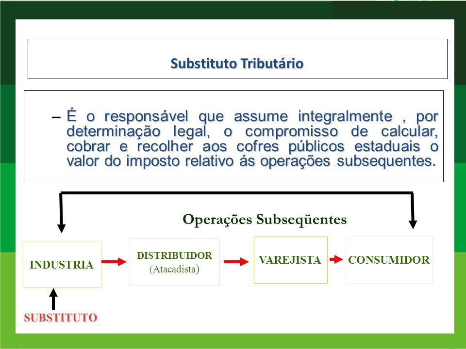 Substituto Tributário –É o responsável que assume integralmente, por determinação legal, o compromisso de calcular, cobrar e recolher aos cofres públi