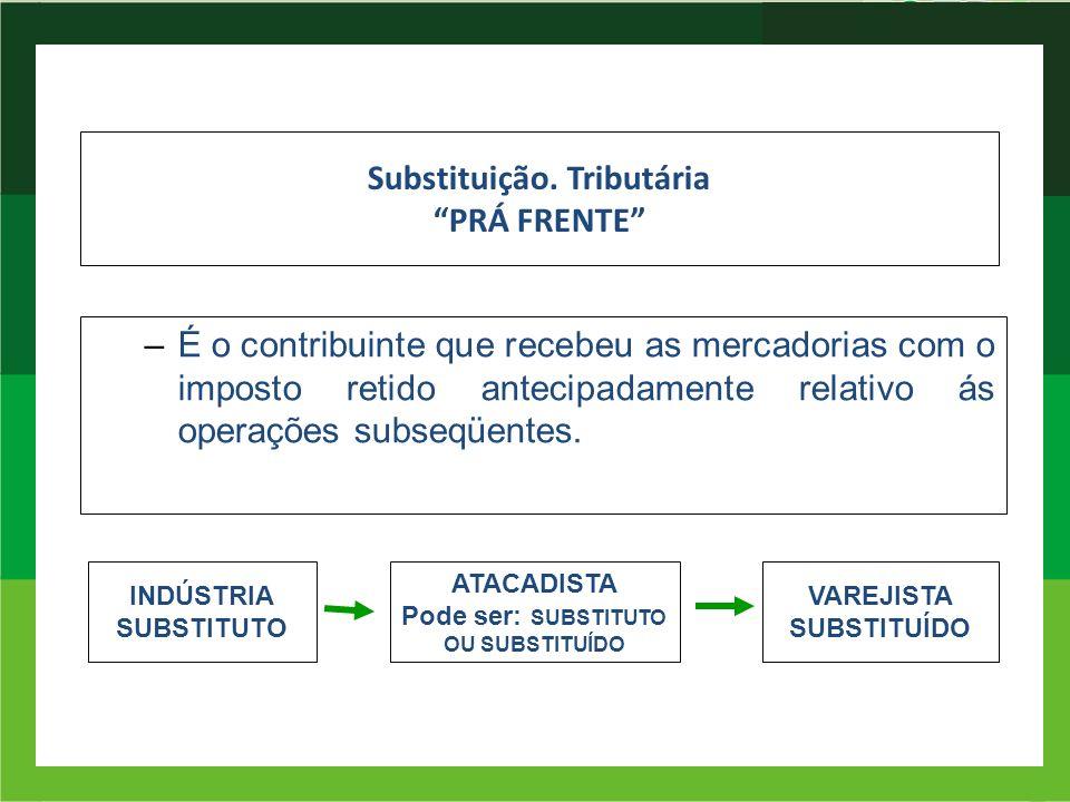 Substituição. Tributária PRÁ FRENTE –É o contribuinte que recebeu as mercadorias com o imposto retido antecipadamente relativo ás operações subseqüent