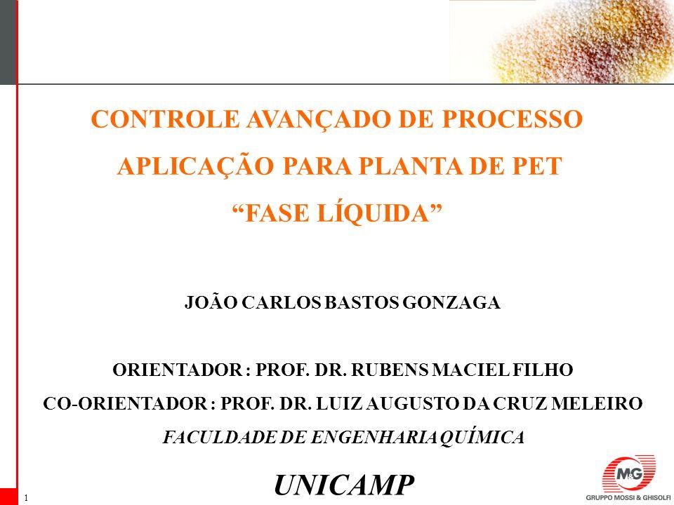 1 CONTROLE AVANÇADO DE PROCESSO APLICAÇÃO PARA PLANTA DE PET FASE LÍQUIDA JOÃO CARLOS BASTOS GONZAGA ORIENTADOR : PROF. DR. RUBENS MACIEL FILHO CO-ORI