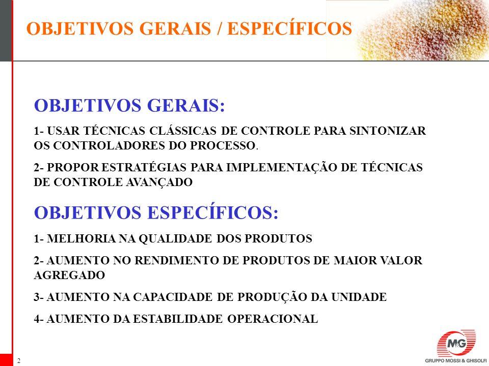 2 OBJETIVOS GERAIS: 1- USAR TÉCNICAS CLÁSSICAS DE CONTROLE PARA SINTONIZAR OS CONTROLADORES DO PROCESSO. 2- PROPOR ESTRATÉGIAS PARA IMPLEMENTAÇÃO DE T