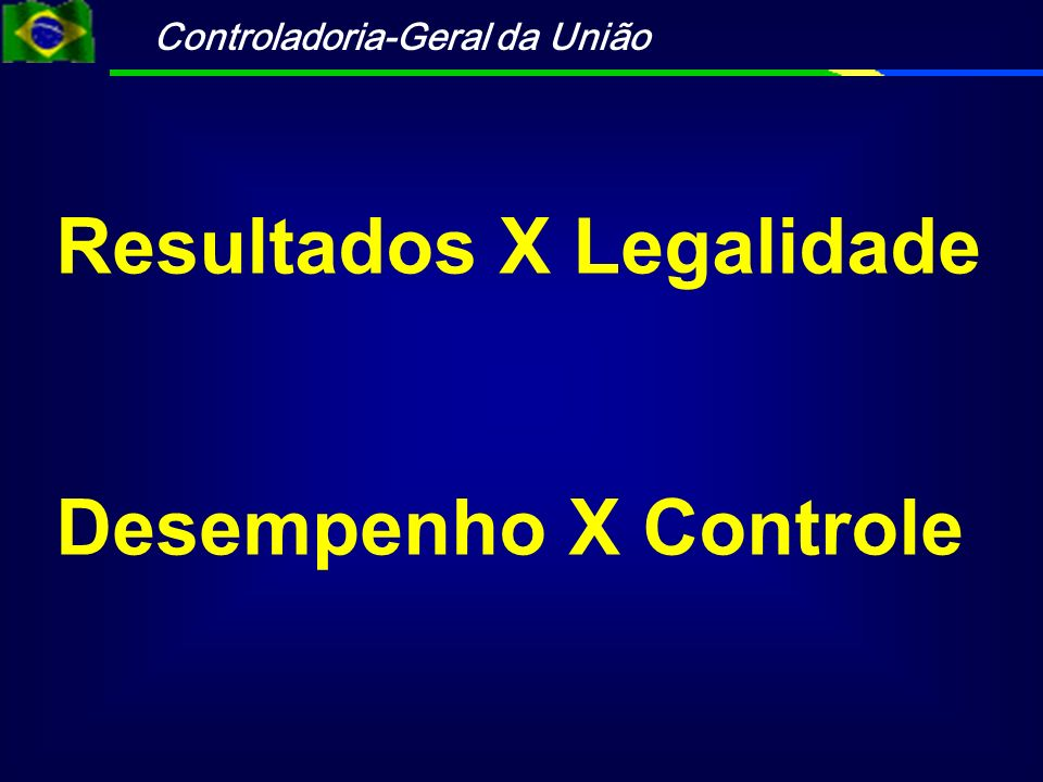 Controladoria-Geral da União Resultados X Legalidade Desempenho X Controle