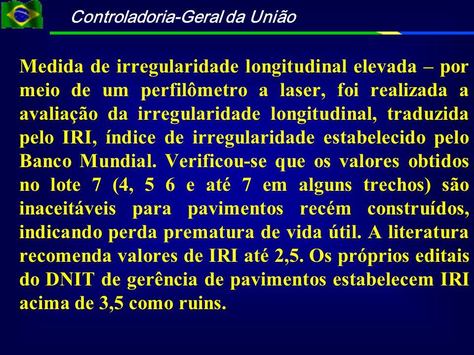 Controladoria-Geral da União Medida de irregularidade longitudinal elevada – por meio de um perfilômetro a laser, foi realizada a avaliação da irregul