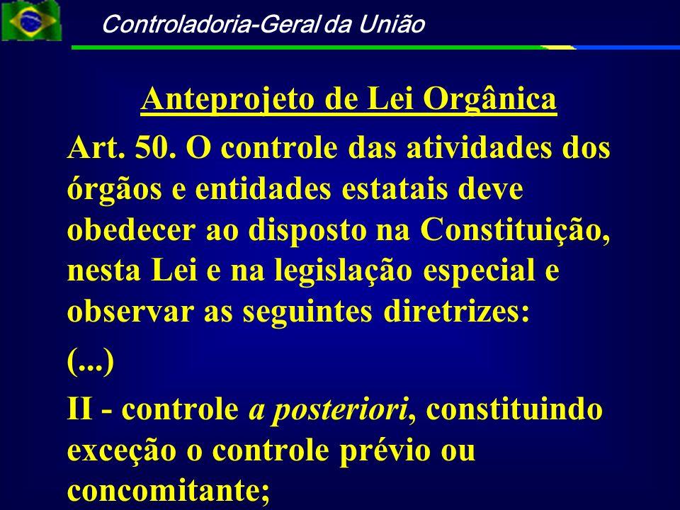 Controladoria-Geral da União Anteprojeto de Lei Orgânica Art. 50. O controle das atividades dos órgãos e entidades estatais deve obedecer ao disposto