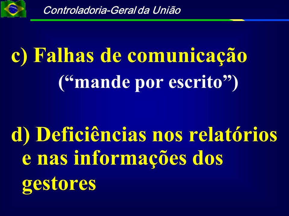 Controladoria-Geral da União e) Falta de agenda comum f) Falta de controle preventivo (gestor e controle)