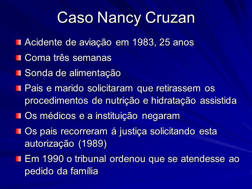 Caso Nancy Cruzan Acidente de aviação em 1983, 25 anos Coma três semanas Sonda de alimentação Pais e marido solicitaram que retirassem os procedimento