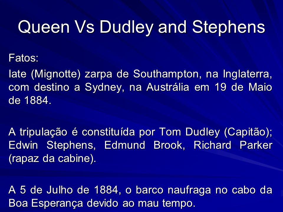 Queen Vs Dudley and Stephens O salva vidas onde se encontravam não tinha mais de 12 pés, e sobreviveram durante 12 dias com 2 latas de nabo que o capitão havia conseguido salvar.
