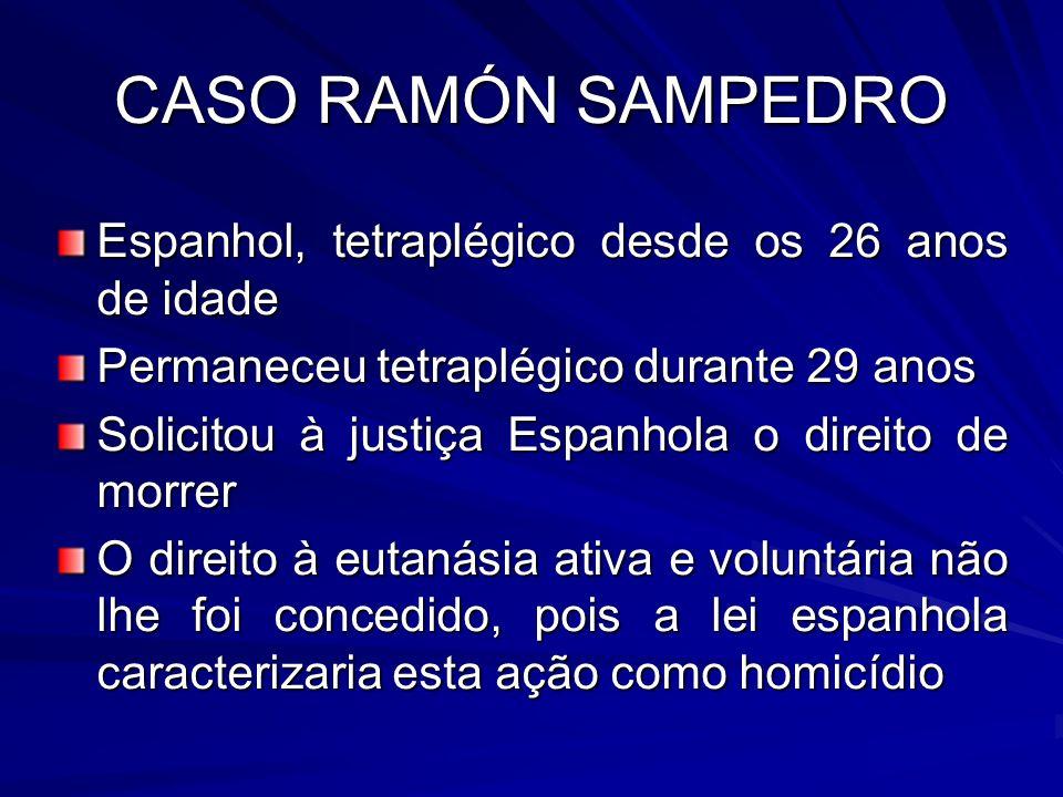 CASO RAMÓN SAMPEDRO Espanhol, tetraplégico desde os 26 anos de idade Permaneceu tetraplégico durante 29 anos Solicitou à justiça Espanhola o direito d