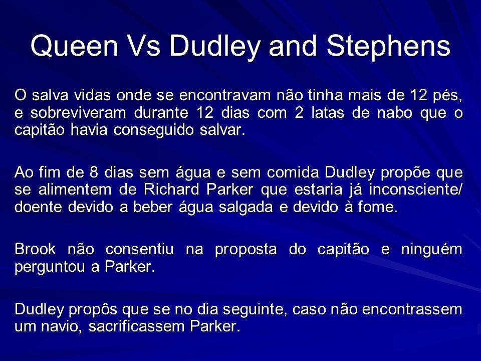 Queen Vs Dudley and Stephens O salva vidas onde se encontravam não tinha mais de 12 pés, e sobreviveram durante 12 dias com 2 latas de nabo que o capi