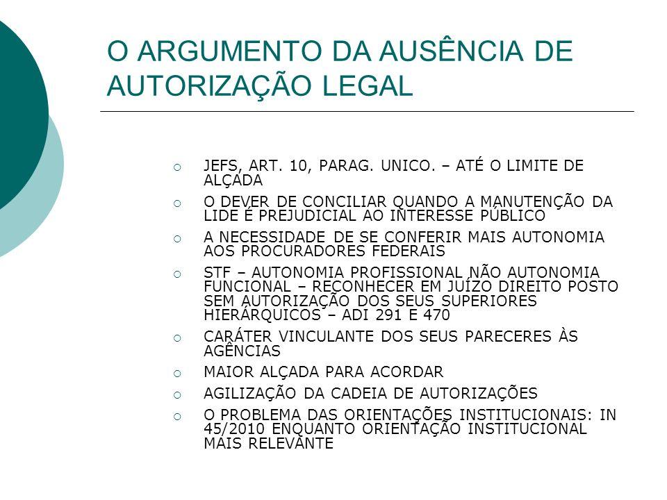 O ARGUMENTO DA AUSÊNCIA DE AUTORIZAÇÃO LEGAL JEFS, ART.