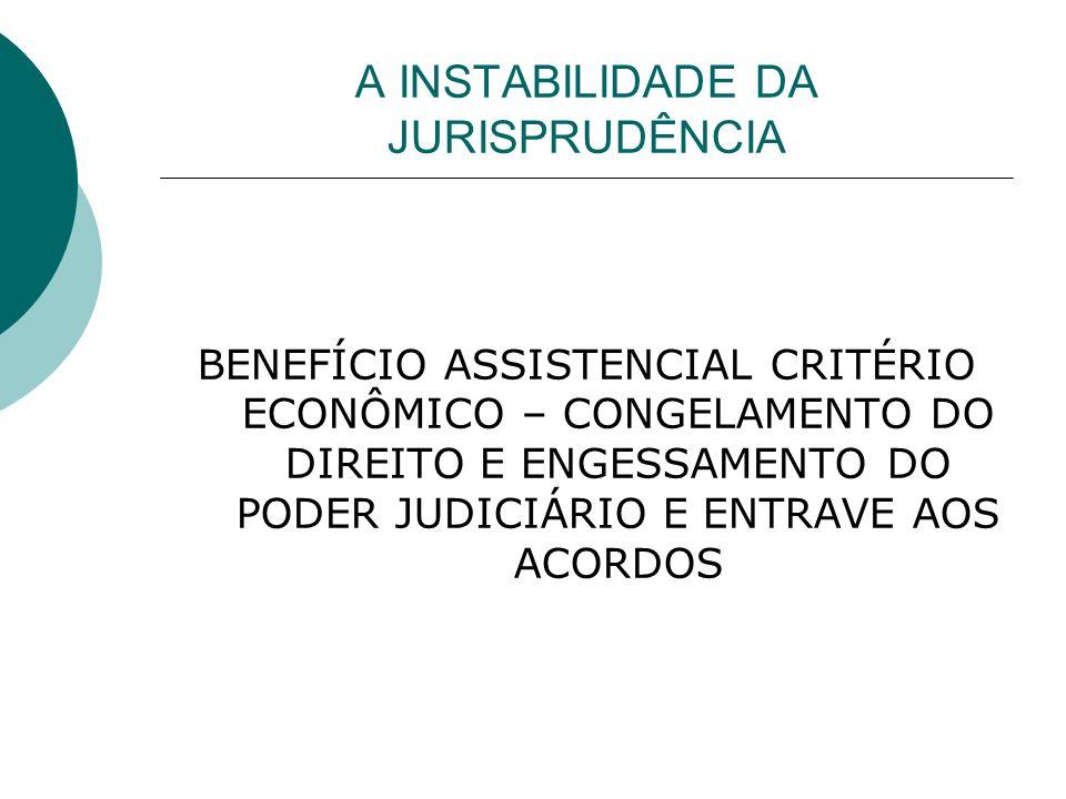 A INSTABILIDADE DA JURISPRUDÊNCIA BENEFÍCIO ASSISTENCIAL CRITÉRIO ECONÔMICO – CONGELAMENTO DO DIREITO E ENGESSAMENTO DO PODER JUDICIÁRIO E ENTRAVE AOS ACORDOS