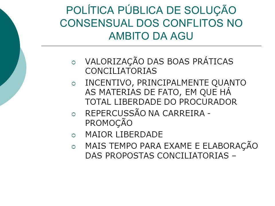 POLÍTICA PÚBLICA DE SOLUÇÃO CONSENSUAL DOS CONFLITOS NO AMBITO DA AGU VALORIZAÇÃO DAS BOAS PRÁTICAS CONCILIATORIAS INCENTIVO, PRINCIPALMENTE QUANTO AS MATERIAS DE FATO, EM QUE HÁ TOTAL LIBERDADE DO PROCURADOR REPERCUSSÃO NA CARREIRA - PROMOÇÃO MAIOR LIBERDADE MAIS TEMPO PARA EXAME E ELABORAÇÃO DAS PROPOSTAS CONCILIATORIAS –
