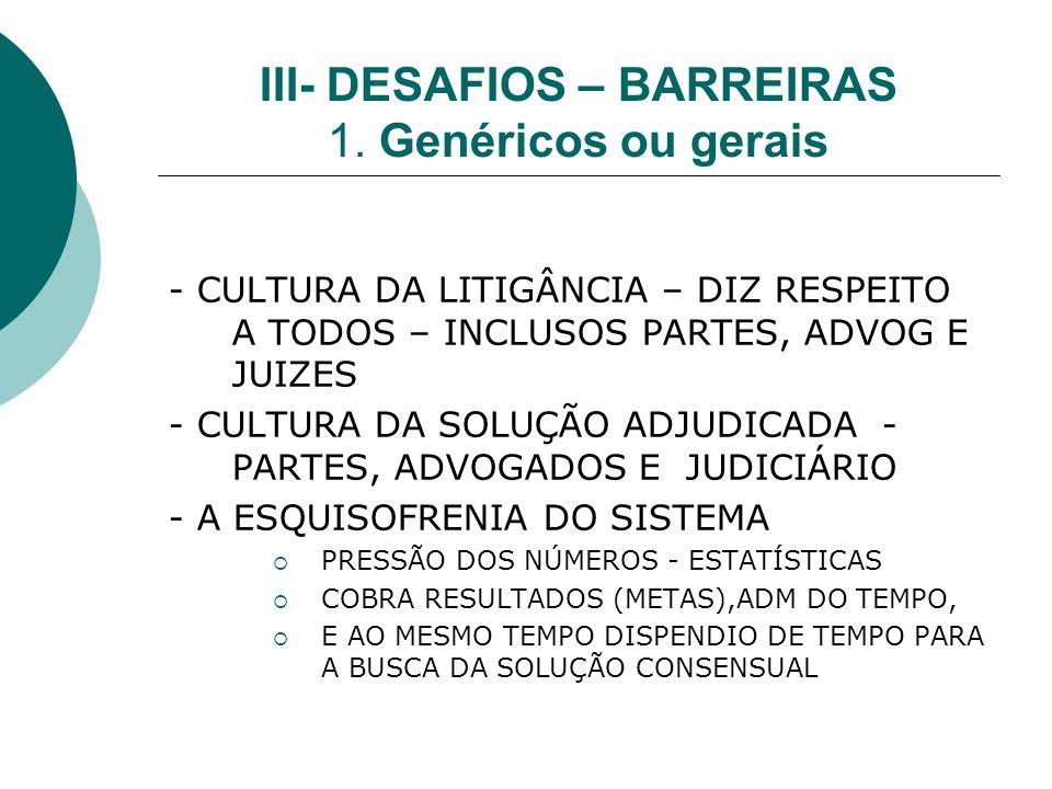 III- DESAFIOS – BARREIRAS 1.