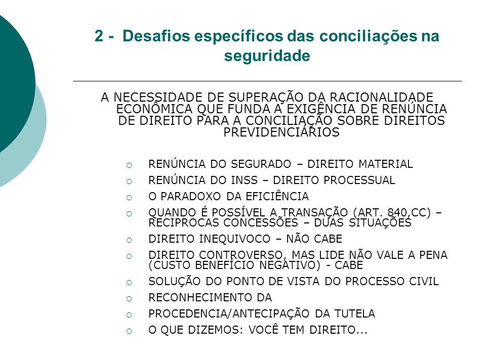2 - Desafios específicos das conciliações na seguridade A NECESSIDADE DE SUPERAÇÃO DA RACIONALIDADE ECONÔMICA QUE FUNDA A EXIGÊNCIA DE RENÚNCIA DE DIREITO PARA A CONCILIAÇÃO SOBRE DIREITOS PREVIDENCIÁRIOS RENÚNCIA DO SEGURADO – DIREITO MATERIAL RENÚNCIA DO INSS – DIREITO PROCESSUAL O PARADOXO DA EFICIÊNCIA QUANDO É POSSÍVEL A TRANSAÇÃO (ART.