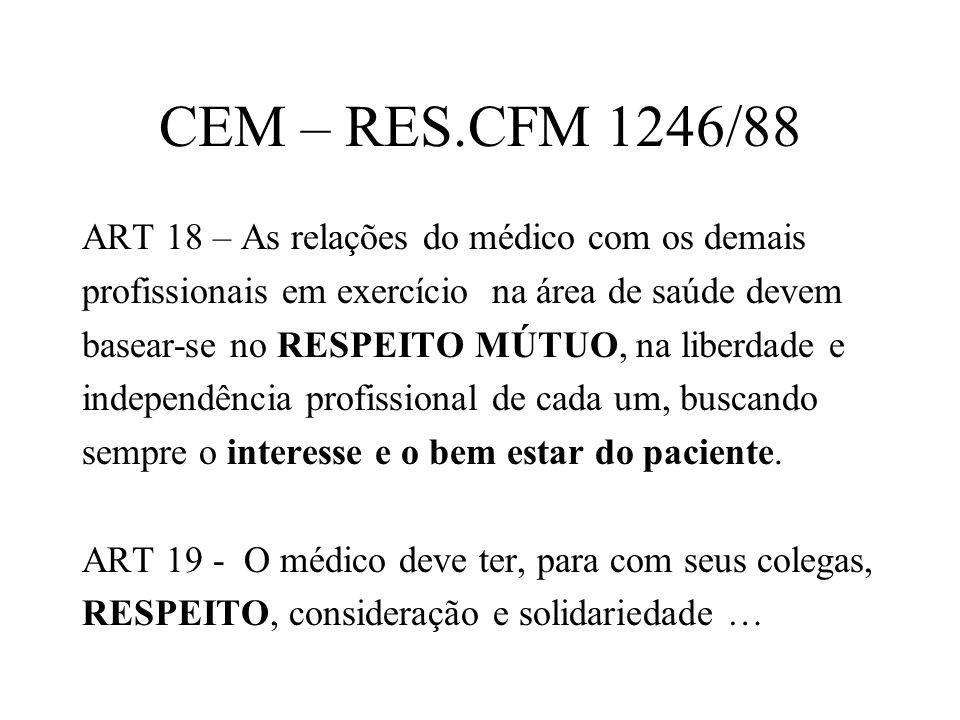 CEM – RES.CFM 1246/88 ART 18 – As relações do médico com os demais profissionais em exercício na área de saúde devem basear-se no RESPEITO MÚTUO, na l