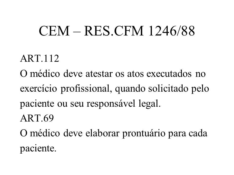 CEM – RES.CFM 1246/88 ART.112 O médico deve atestar os atos executados no exercício profissional, quando solicitado pelo paciente ou seu responsável l