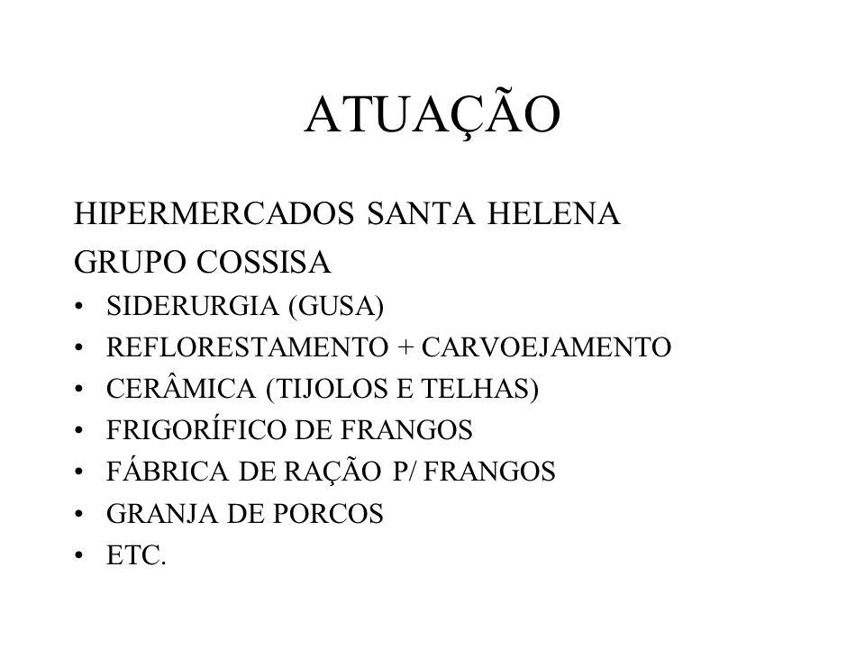 ATUAÇÃO HIPERMERCADOS SANTA HELENA GRUPO COSSISA SIDERURGIA (GUSA) REFLORESTAMENTO + CARVOEJAMENTO CERÂMICA (TIJOLOS E TELHAS) FRIGORÍFICO DE FRANGOS