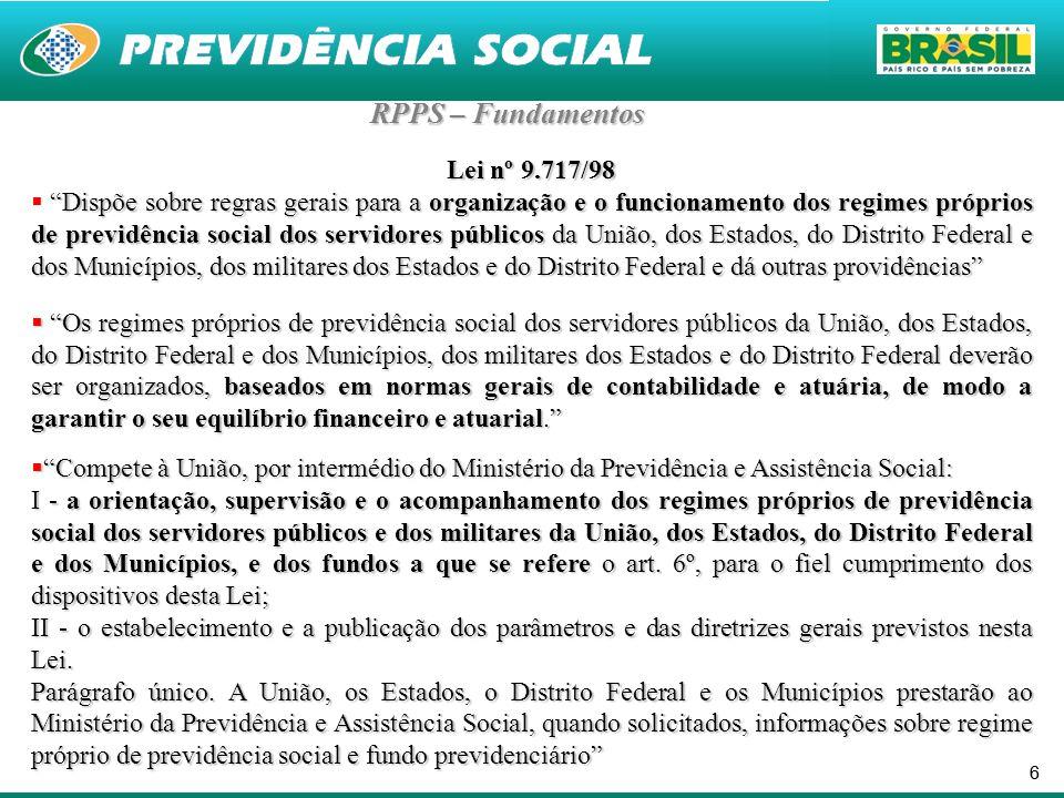 66 RPPS – Fundamentos Lei nº 9.717/98 Dispõe sobre regras gerais para a organização e o funcionamento dos regimes próprios de previdência social dos s