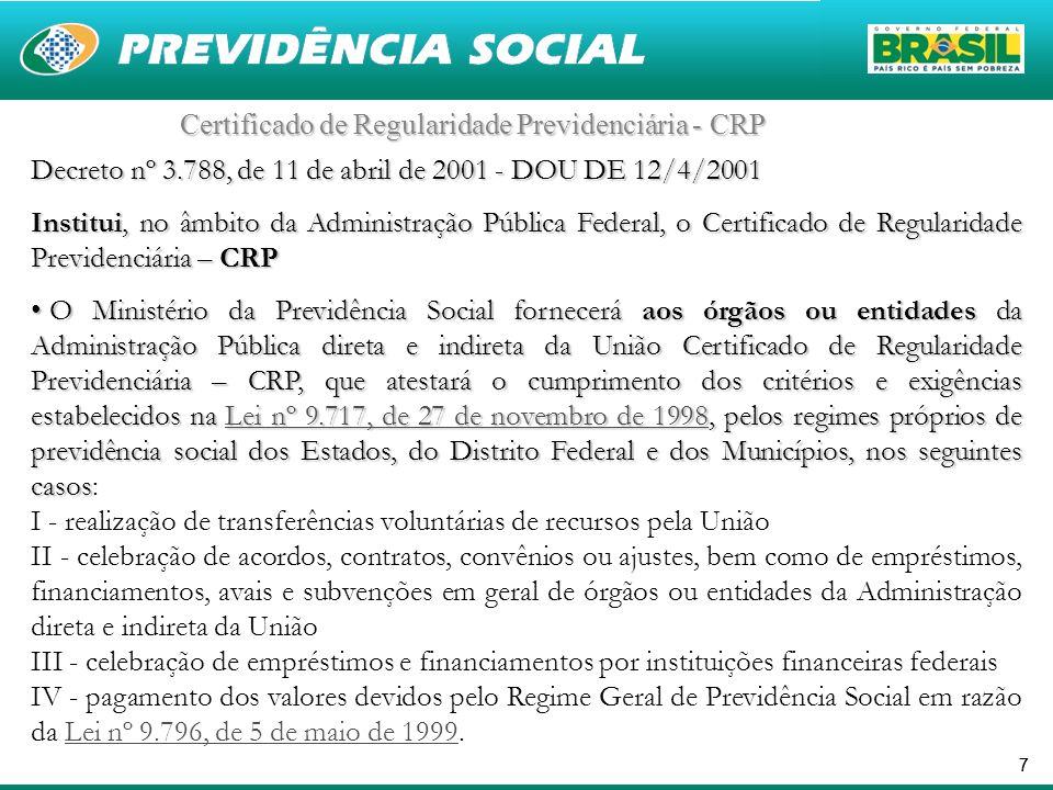 77 Certificado de Regularidade Previdenciária - CRP Decreto nº 3.788, de 11 de abril de 2001 - DOU DE 12/4/2001 Institui, no âmbito da Administração P