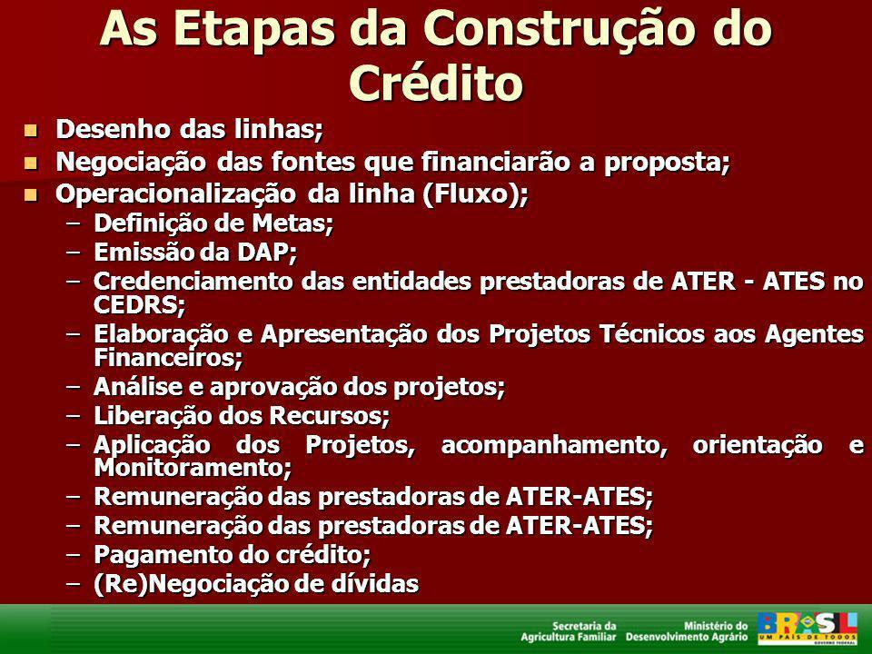 As Etapas da Construção do Crédito Desenho das linhas; Desenho das linhas; Negociação das fontes que financiarão a proposta; Negociação das fontes que