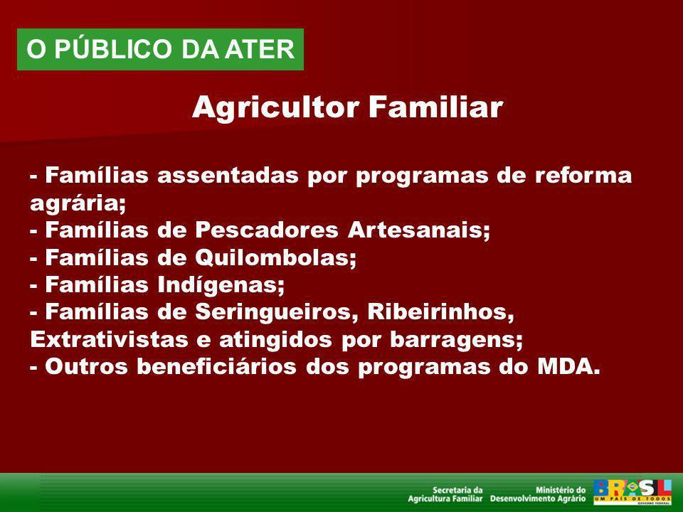 Agricultor Familiar - Famílias assentadas por programas de reforma agrária; - Famílias de Pescadores Artesanais; - Famílias de Quilombolas; - Famílias