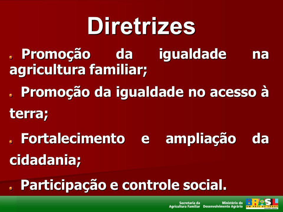 Diretrizes Promoção da igualdade na agricultura familiar; Promoção da igualdade na agricultura familiar; Promoção da igualdade no acesso à terra; Prom