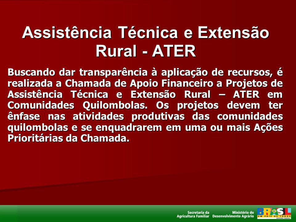 Assistência Técnica e Extensão Rural - ATER Buscando dar transparência à aplicação de recursos, é realizada a Chamada de Apoio Financeiro a Projetos d