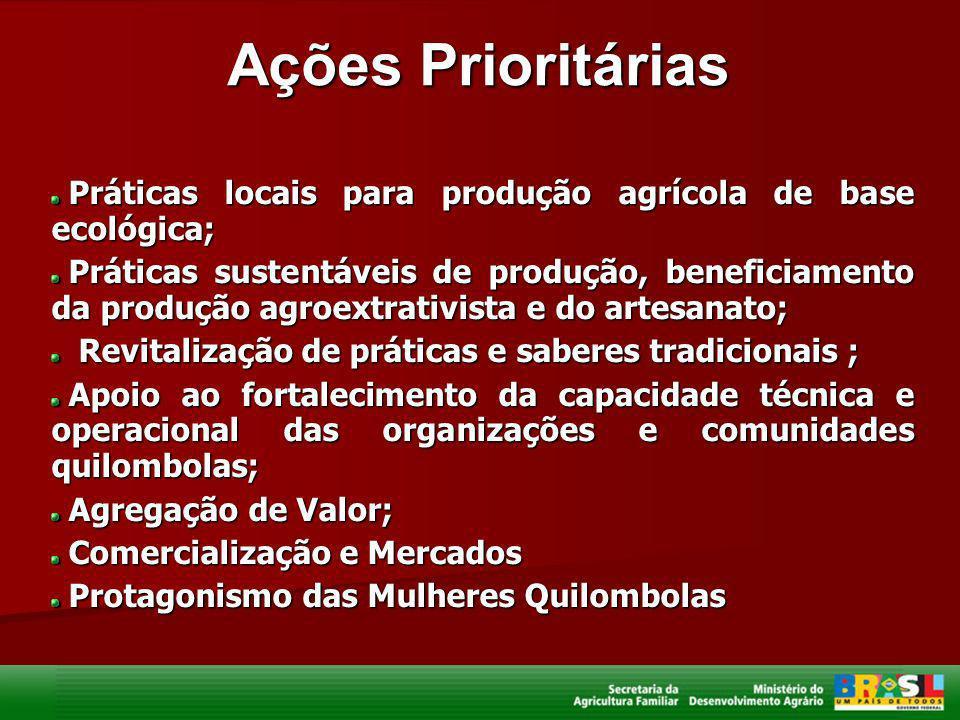 Ações Prioritárias Práticas locais para produção agrícola de base ecológica; Práticas locais para produção agrícola de base ecológica; Práticas susten