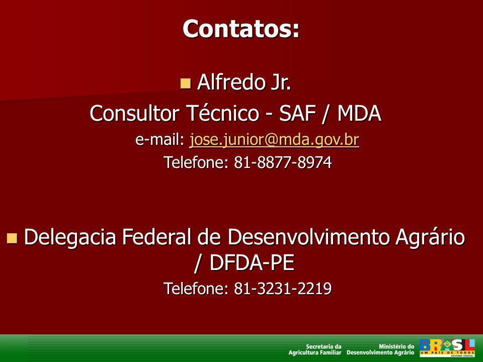 Contatos: Alfredo Jr. Alfredo Jr. Consultor Técnico - SAF / MDA e-mail: jose.junior@mda.gov.br jose.junior@mda.gov.br Telefone: 81-8877-8974 Delegacia