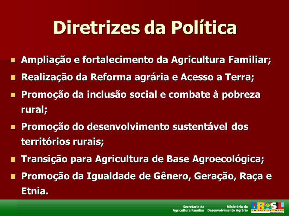 Diretrizes da Política Ampliação e fortalecimento da Agricultura Familiar; Ampliação e fortalecimento da Agricultura Familiar; Realização da Reforma a