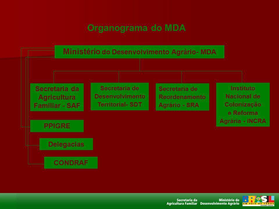 Ministério do Desenvolvimento Agrário- MDA Secretaria da Agricultura Familiar - SAF Secretaria de Desenvolvimento Territorial- SDT Secretaria de Reord