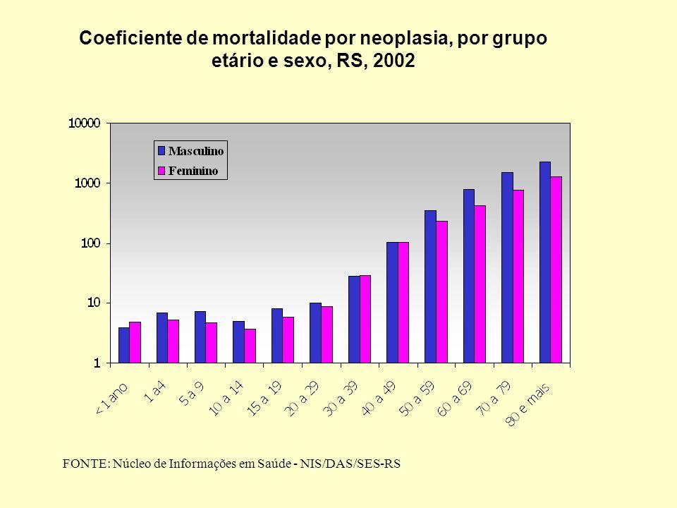 Coeficiente de mortalidade por neoplasia, por grupo etário e sexo, RS, 2002 FONTE: Núcleo de Informações em Saúde - NIS/DAS/SES-RS