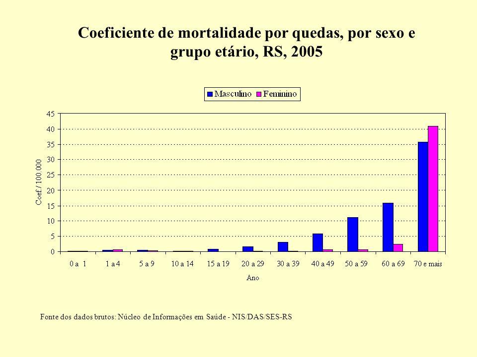 Coeficiente de mortalidade por quedas, por sexo e grupo etário, RS, 2005 Fonte dos dados brutos: Núcleo de Informações em Saúde - NIS/DAS/SES-RS