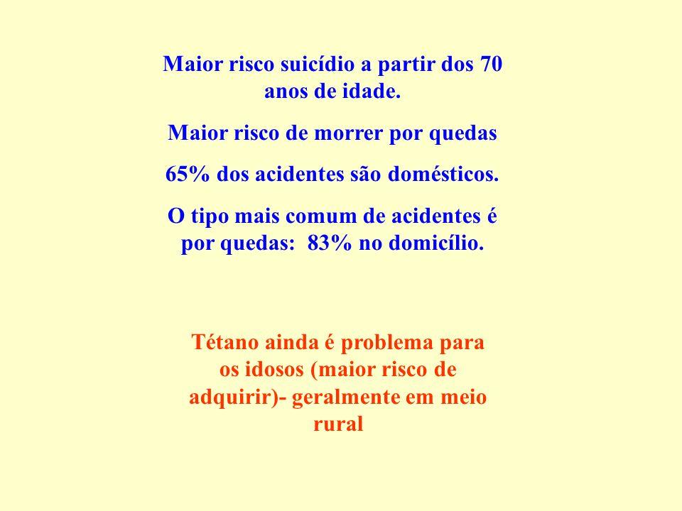 Maior risco suicídio a partir dos 70 anos de idade. Maior risco de morrer por quedas 65% dos acidentes são domésticos. O tipo mais comum de acidentes