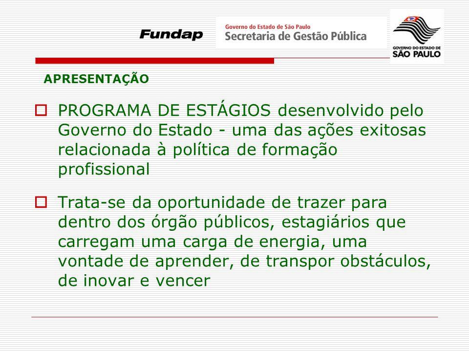 PROGRAMA DE ESTÁGIOS desenvolvido pelo Governo do Estado - uma das ações exitosas relacionada à política de formação profissional Trata-se da oportuni