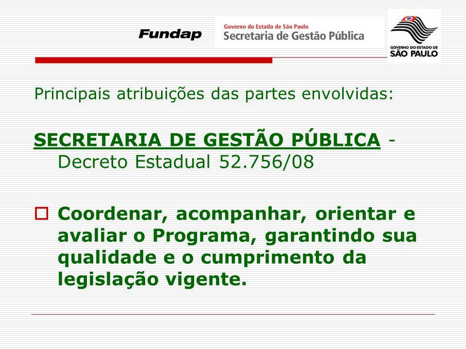 SECRETARIA DE GESTÃO PÚBLICA - Decreto Estadual 52.756/08 Coordenar, acompanhar, orientar e avaliar o Programa, garantindo sua qualidade e o cumprimen