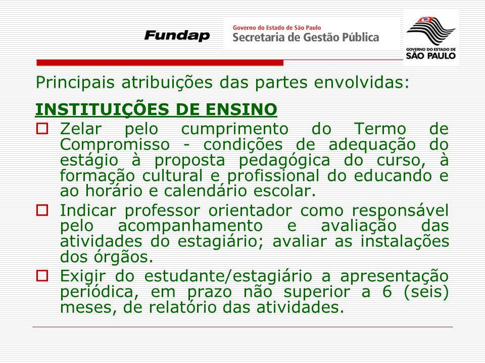 INSTITUIÇÕES DE ENSINO Zelar pelo cumprimento do Termo de Compromisso - condições de adequação do estágio à proposta pedagógica do curso, à formação c