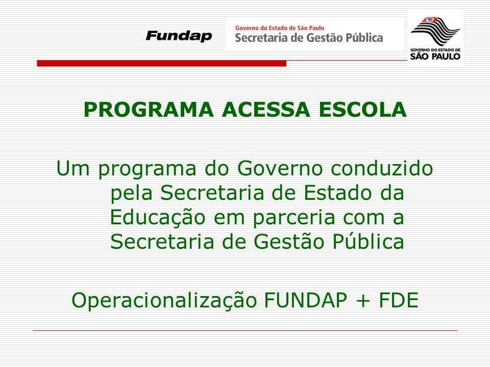 PROGRAMA ACESSA ESCOLA Um programa do Governo conduzido pela Secretaria de Estado da Educação em parceria com a Secretaria de Gestão Pública Operacion