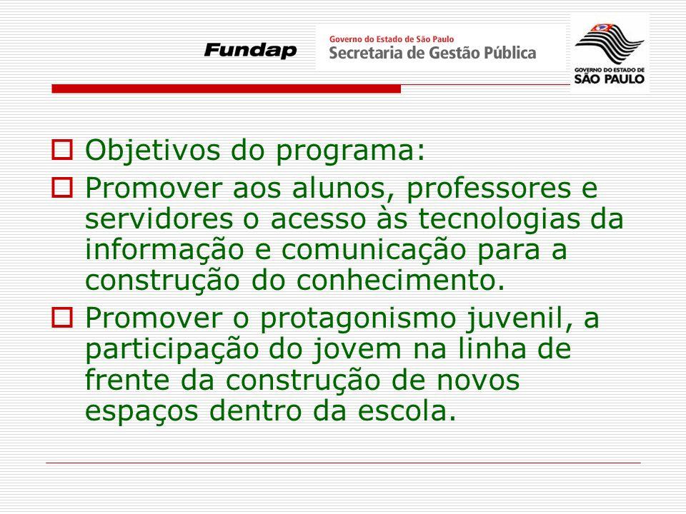 Objetivos do programa: Promover aos alunos, professores e servidores o acesso às tecnologias da informação e comunicação para a construção do conhecim