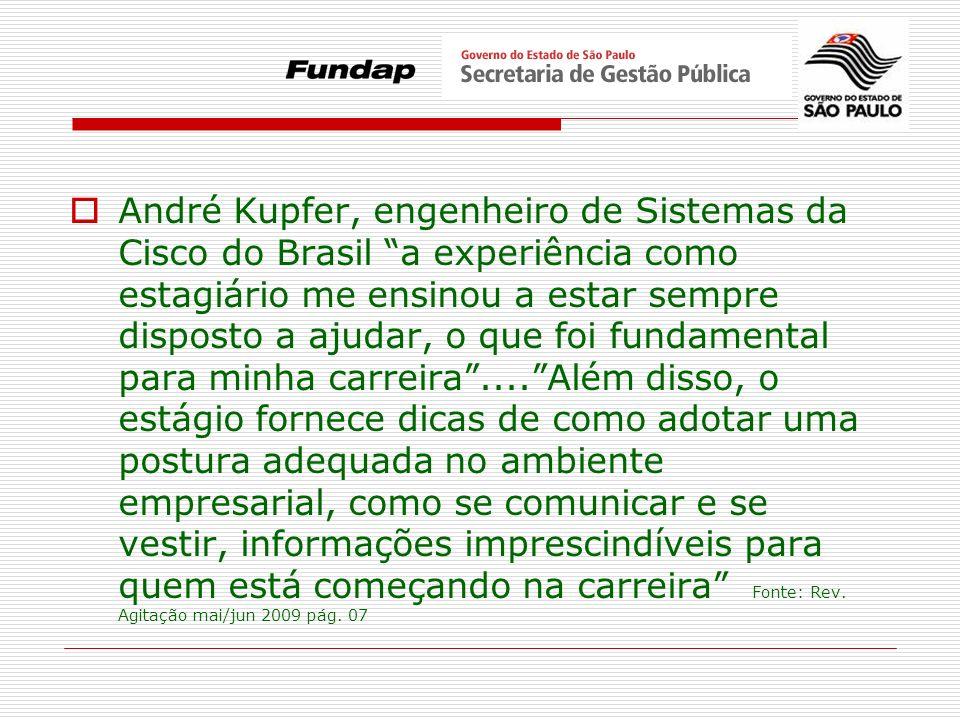 André Kupfer, engenheiro de Sistemas da Cisco do Brasil a experiência como estagiário me ensinou a estar sempre disposto a ajudar, o que foi fundament