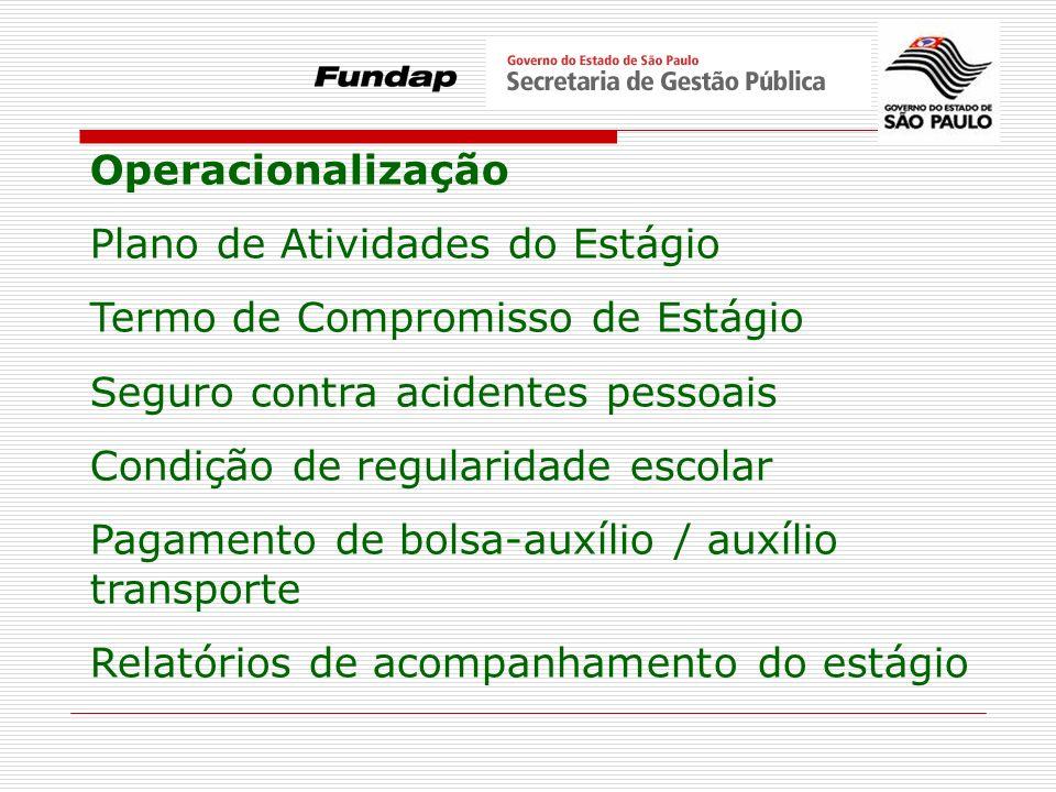 Operacionalização Plano de Atividades do Estágio Termo de Compromisso de Estágio Seguro contra acidentes pessoais Condição de regularidade escolar Pag