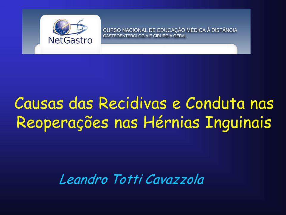 Leandro Totti Cavazzola Causas das Recidivas e Conduta nas Reoperações nas Hérnias Inguinais