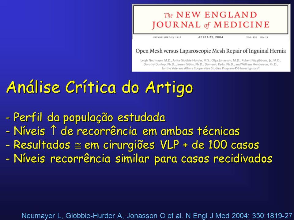 Neumayer L, Giobbie-Hurder A, Jonasson O et al. N Engl J Med 2004; 350:1819-27 Análise Crítica do Artigo - Perfil da população estudada - Níveis de re