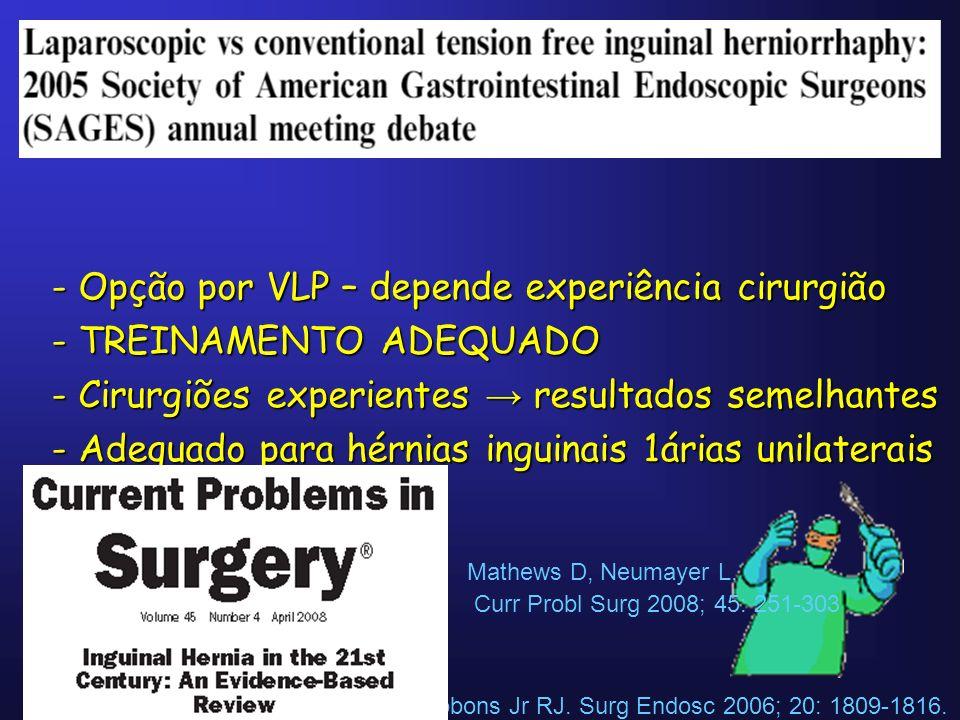 Puri V, Felix E, Fitzgibbons Jr RJ. Surg Endosc 2006; 20: 1809-1816. - Opção por VLP – depende experiência cirurgião - TREINAMENTO ADEQUADO - Cirurgiõ