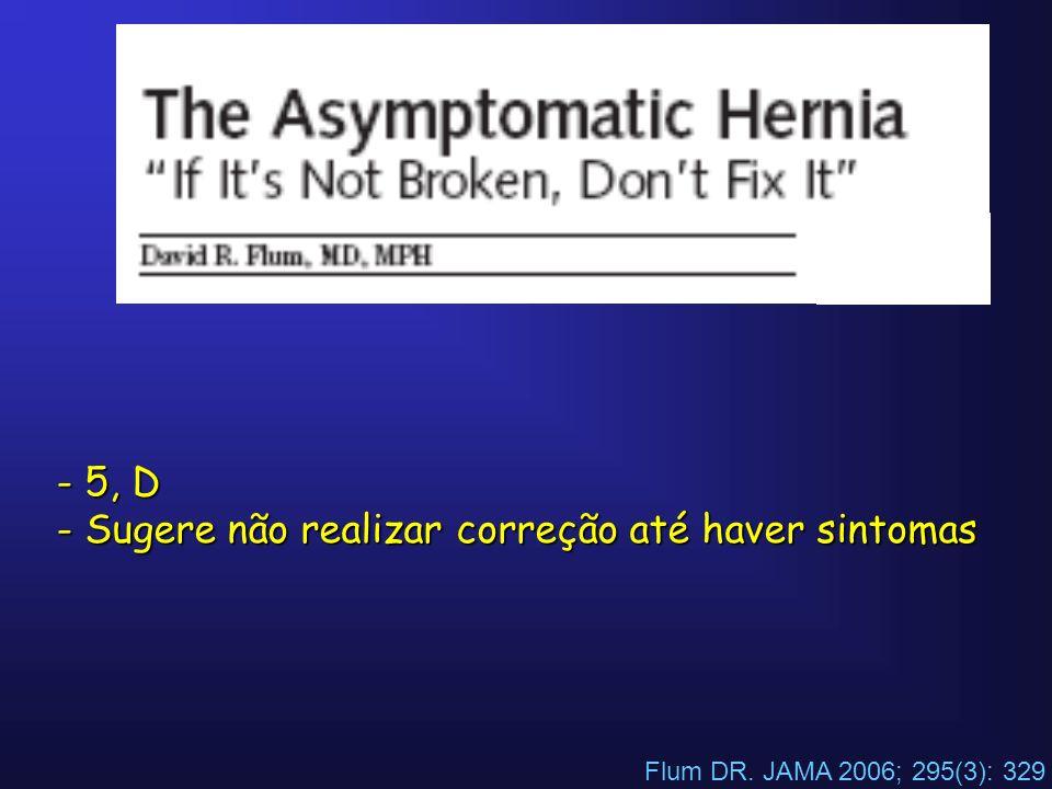 Flum DR. JAMA 2006; 295(3): 329 - 5, D - Sugere não realizar correção até haver sintomas