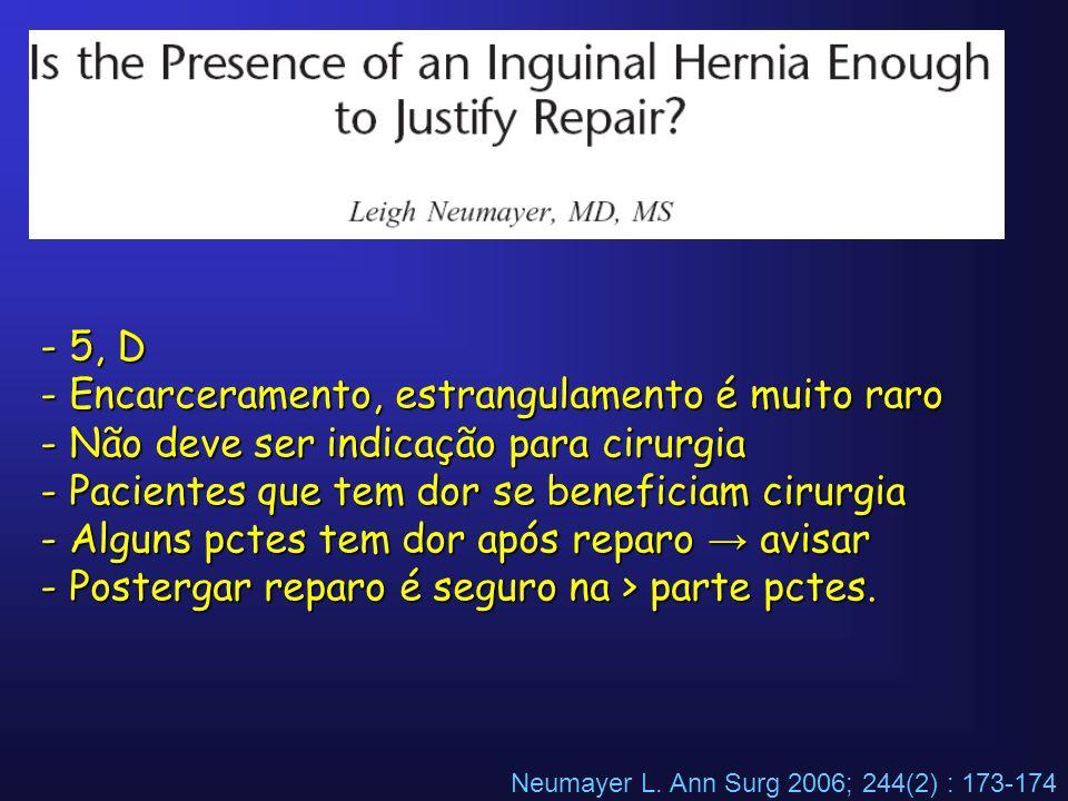 Neumayer L. Ann Surg 2006; 244(2) : 173-174 - 5, D - Encarceramento, estrangulamento é muito raro - Não deve ser indicação para cirurgia - Pacientes q