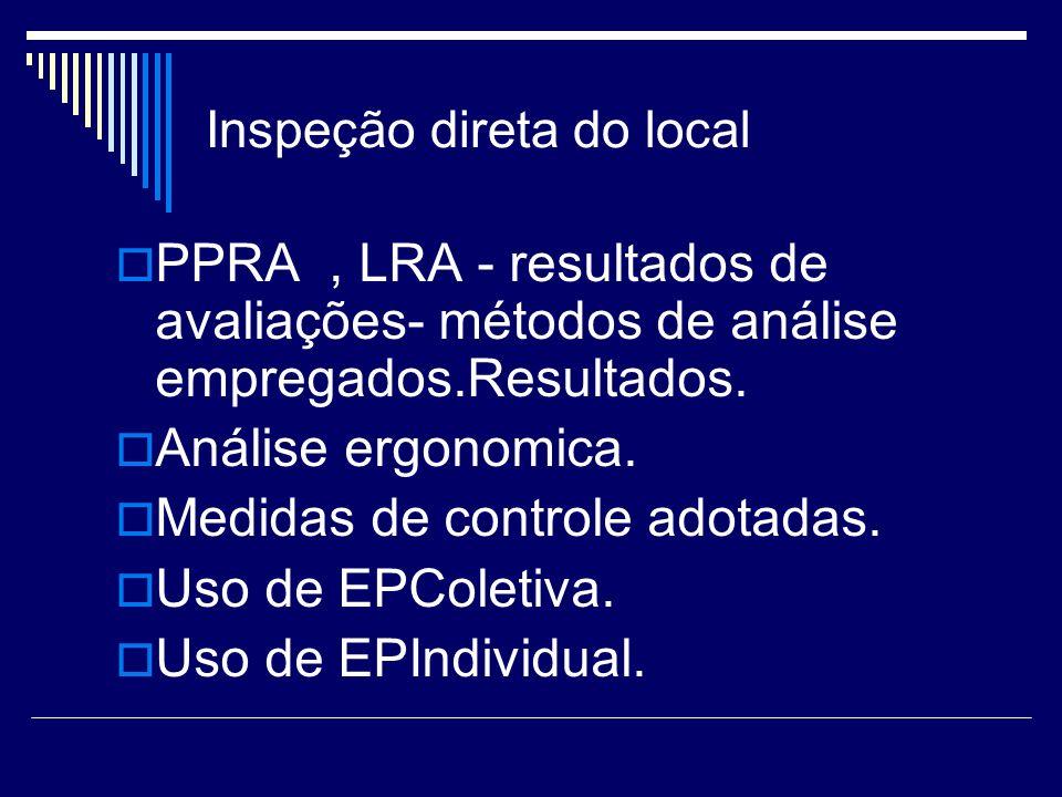 Inspeção direta do local PPRA, LRA - resultados de avaliações- métodos de análise empregados.Resultados. Análise ergonomica. Medidas de controle adota