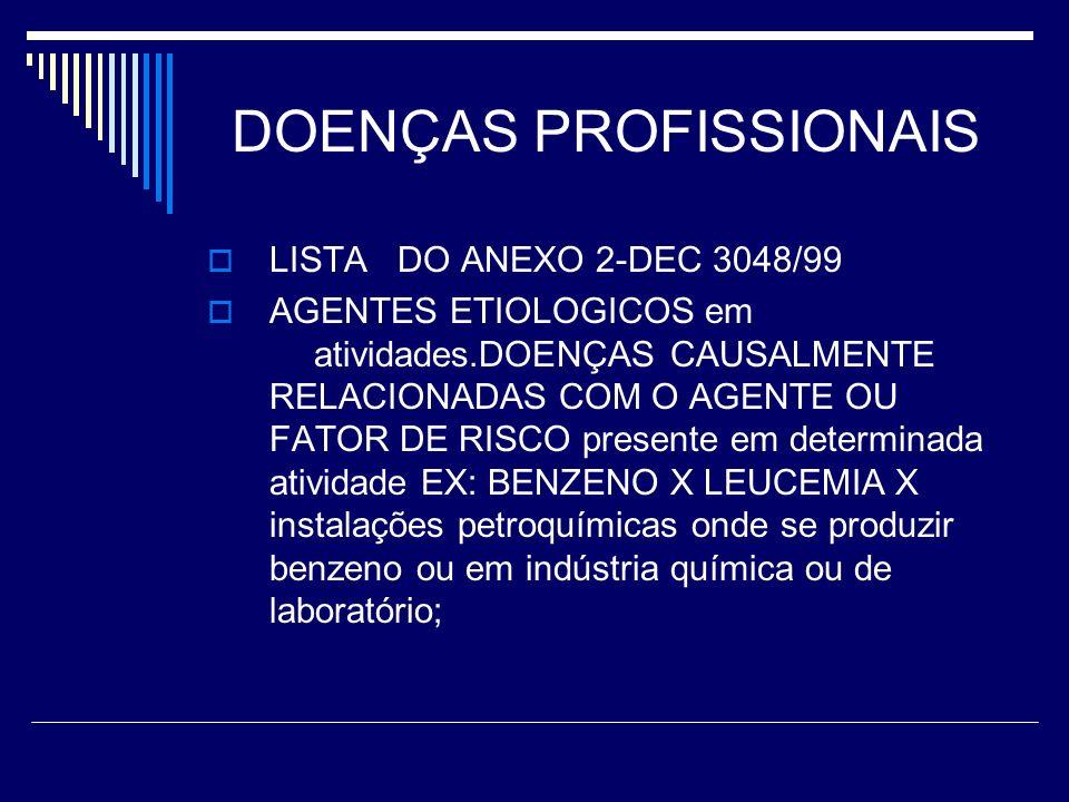 DOENÇAS PROFISSIONAIS LISTA DO ANEXO 2-DEC 3048/99 AGENTES ETIOLOGICOS em atividades.DOENÇAS CAUSALMENTE RELACIONADAS COM O AGENTE OU FATOR DE RISCO p